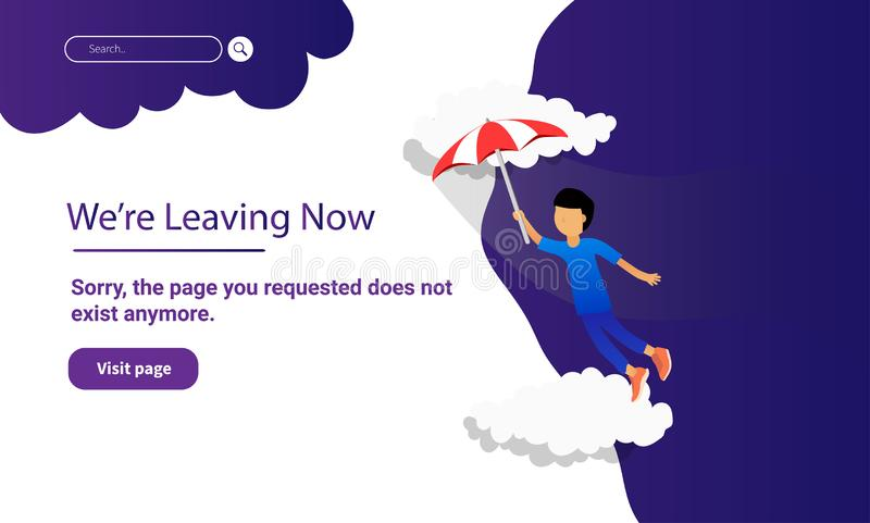 Barnfluga med paraplyet för att landa sidawebsiten och mobil websitedesign och utveckling royaltyfri illustrationer
