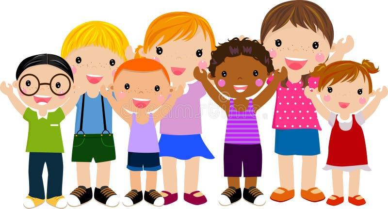 barngrupp royaltyfri illustrationer