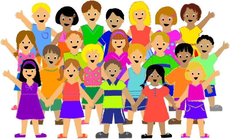 barngrupp stock illustrationer