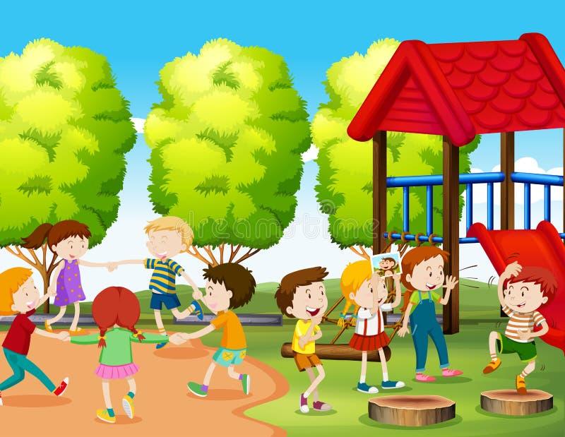 barngyckel som har parken royaltyfri illustrationer