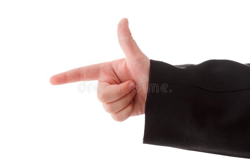 Barnhandgesten indikerar att riktningen eller danandet g?r en gest p? handlagapparater Isolerat p? vit arkivbild