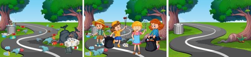 Barnhjälp som gör ren vägen royaltyfri illustrationer