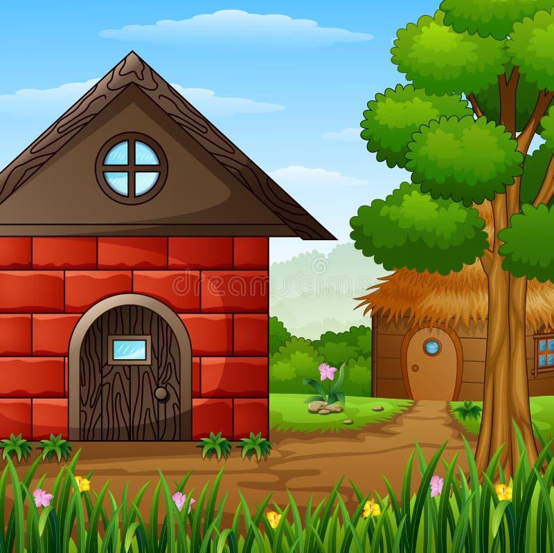 Barnhouse de bande dessinée avec une carlingue dans les terres cultivables illustration libre de droits