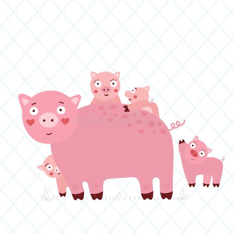 Barnillustration av en familj av svin fotografering för bildbyråer