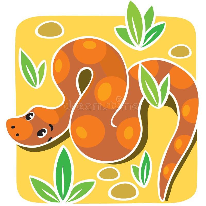 Barnillustration av ormen royaltyfri illustrationer