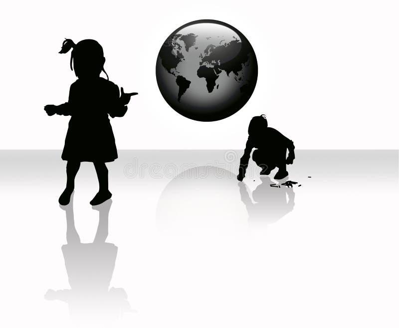 barnjordklotworldmap royaltyfri illustrationer