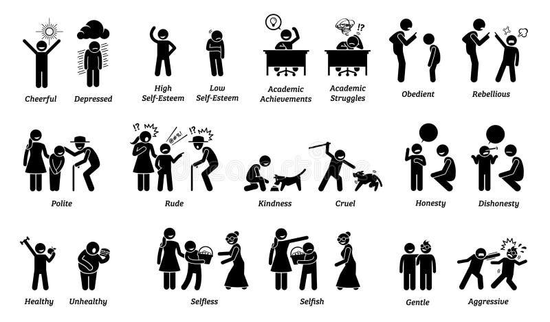Barnkännetecken, inställningar, känslor och sinnesrörelser vektor illustrationer