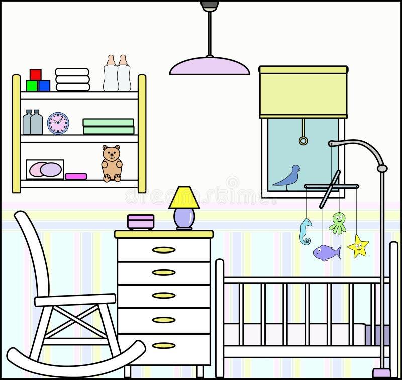 Barnkammare med möblemang och monteringar royaltyfri illustrationer