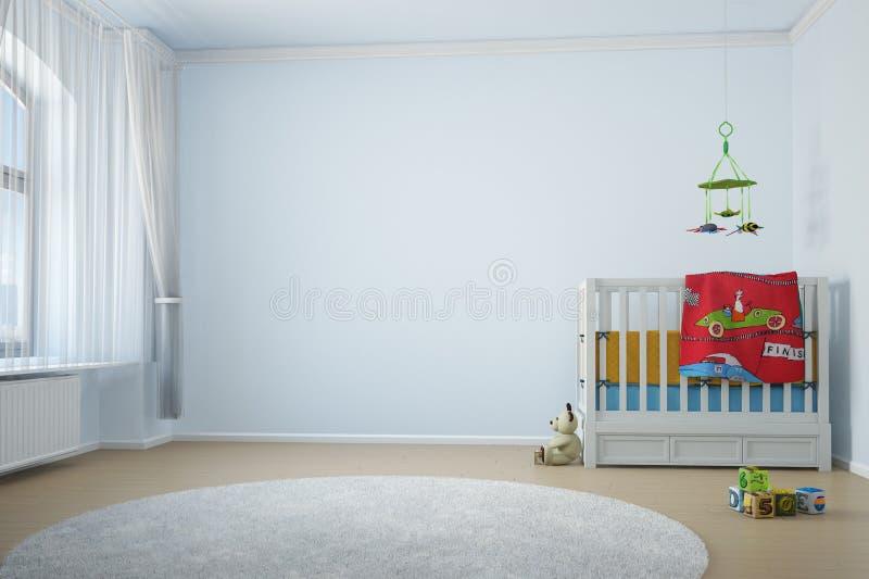 Barnkammarerum med crip stock illustrationer