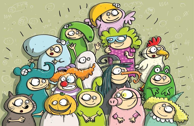 Barnkarnevalet maskerar vektor illustrationer