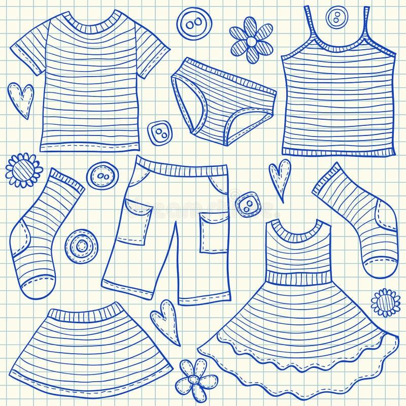 Barnkläderklotter royaltyfri illustrationer