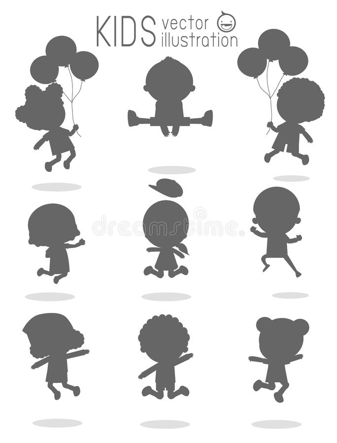 Barnkonturer som hoppar, ungekonturer som hoppar på vit bakgrund, Mång--person som tillhör en etnisk minoritet barn som hoppar, l vektor illustrationer