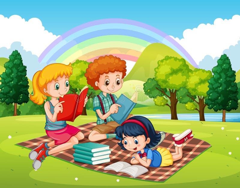 Barnläseböcker i parkera royaltyfri illustrationer