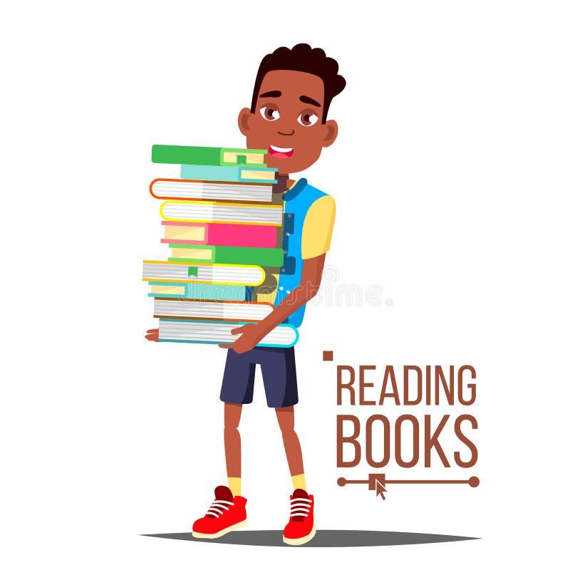 Barnläsebokvektor Arfo amerikansk pojke med den stora bunten av böcker Utbildning _ Begrepp för barnarkiv royaltyfri illustrationer