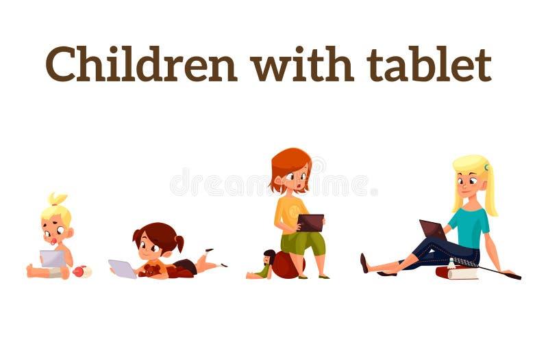 Barnlek i smartphonen eller minnestavlan royaltyfri illustrationer