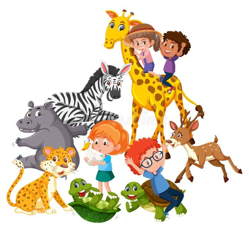 Barnlek med vilda djur stock illustrationer