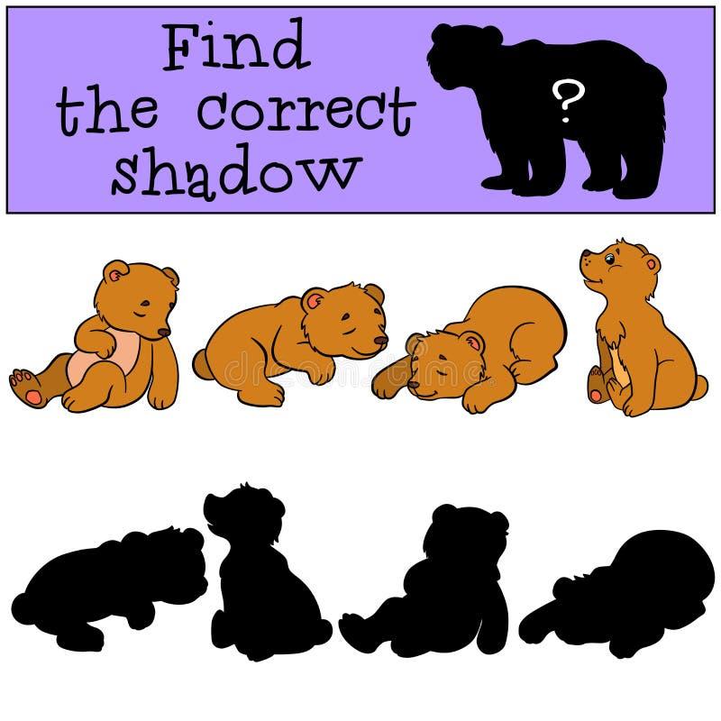 Barnlekar: Finna den korrekta skuggan Litet gulligt behandla som ett barn björnar vektor illustrationer
