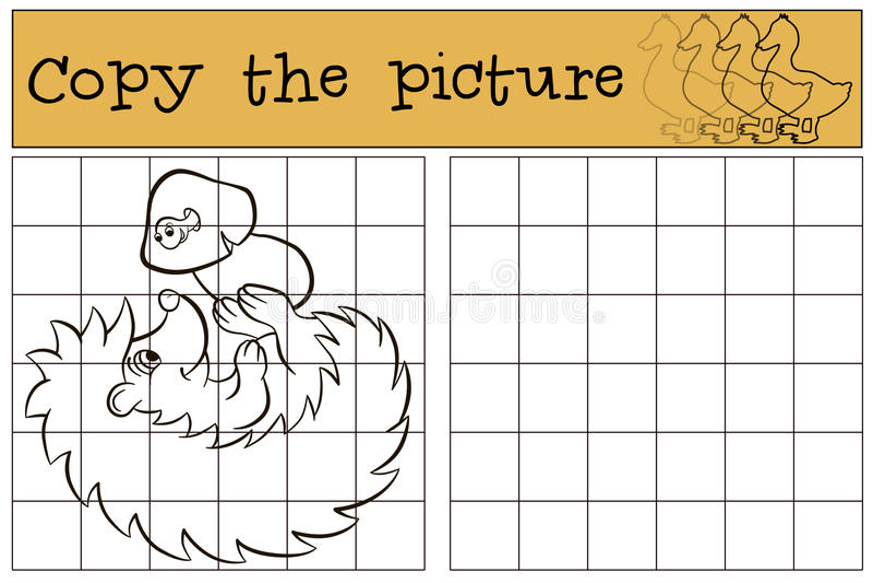 Barnlekar: Kopiera bilden Liten gullig igelkott stock illustrationer