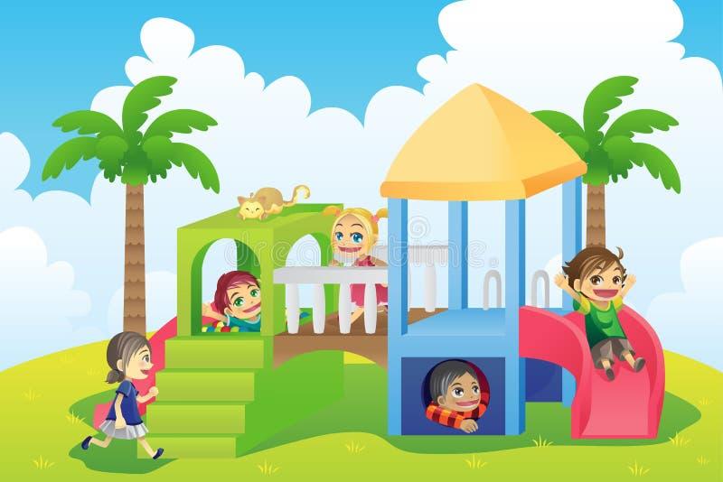 barnlekplats stock illustrationer