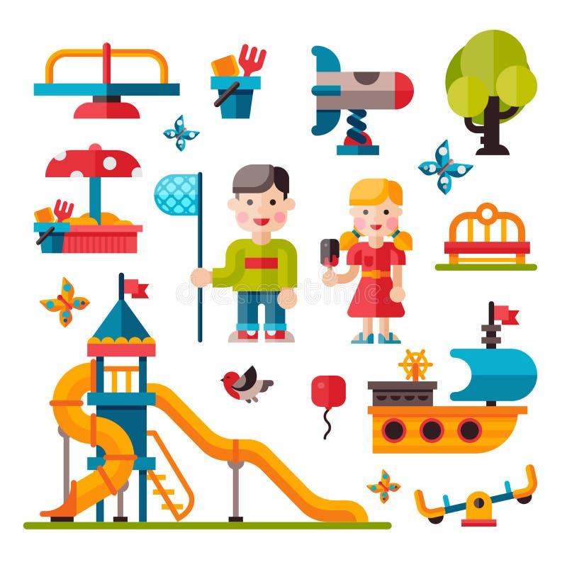 Barnlekplats i plan stil arkivbilder