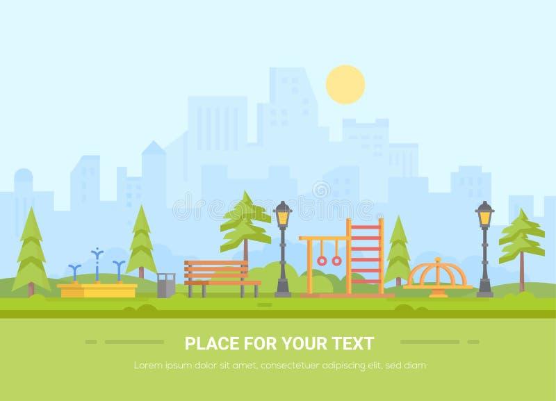 Barnlekplats - modern vektorillustration med stället för text stock illustrationer