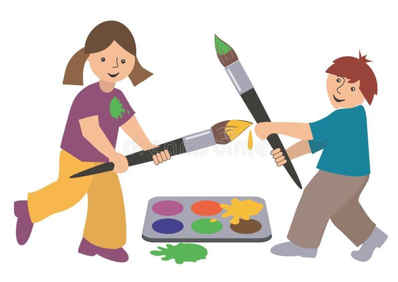 barnmålareswordsmen royaltyfri illustrationer