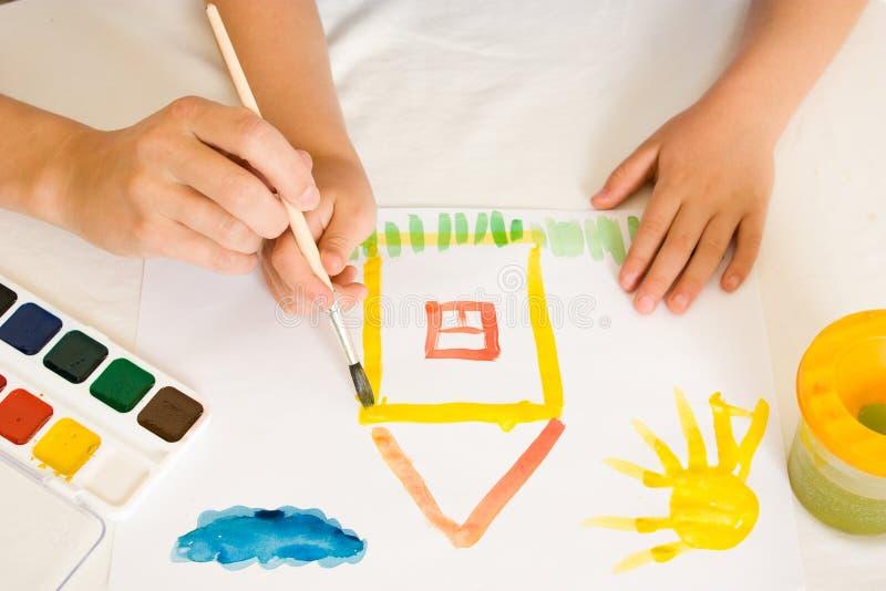 barnmålarfärg royaltyfri foto