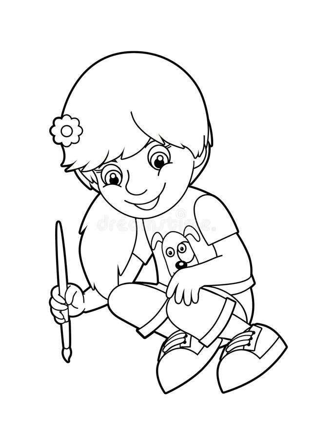 Barnmålning stock illustrationer