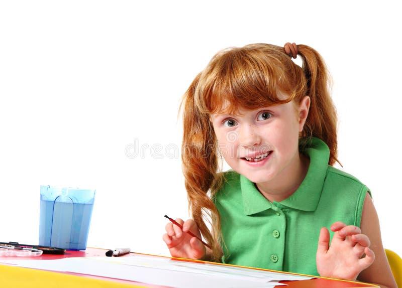 barnmålningsvattenfärg arkivfoton