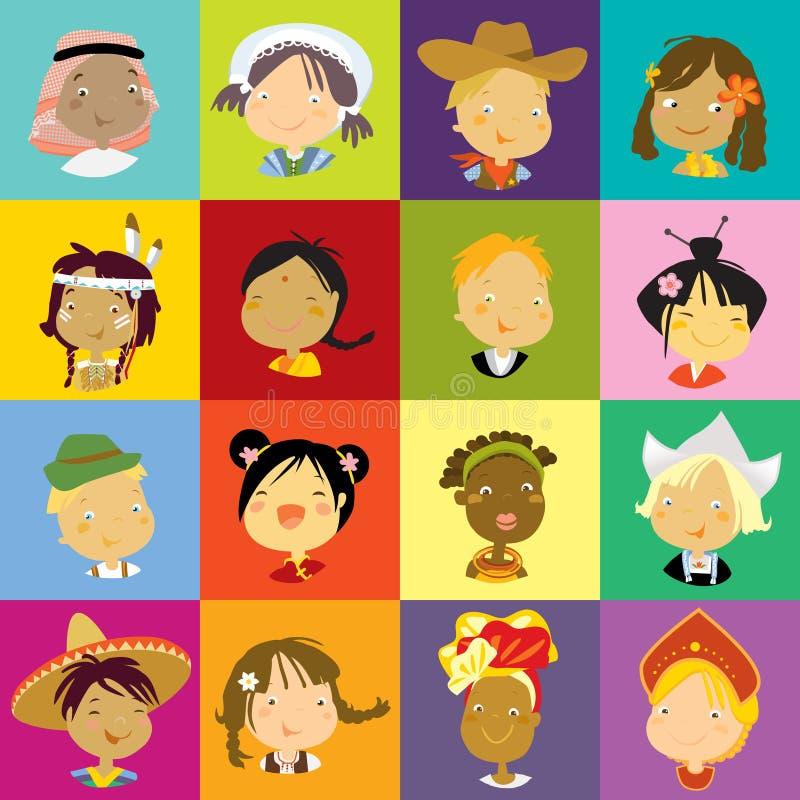 barnmångfald vektor illustrationer