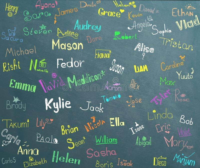 Barnnamn och teckningar royaltyfri bild