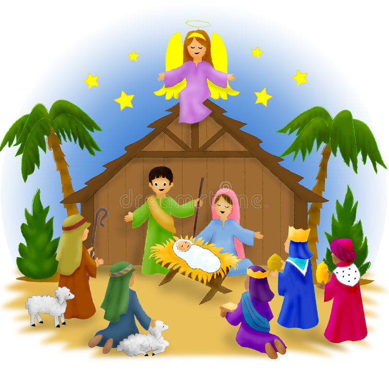 barnnativity vektor illustrationer