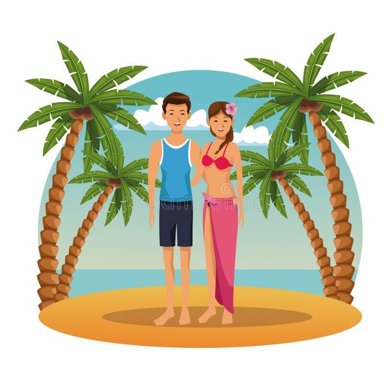 Barnpar i stranden vektor illustrationer