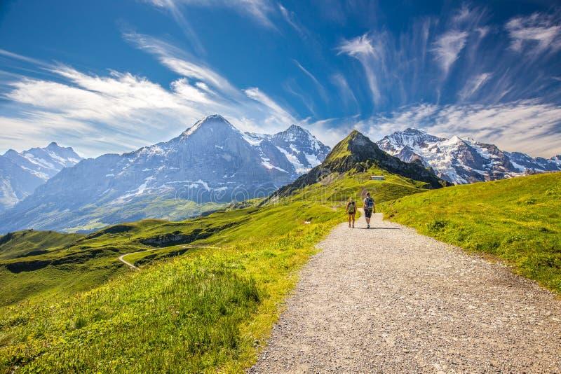 Barnpar som fotvandrar i panorama, skuggar att leda till Kleine Scheideg royaltyfri bild