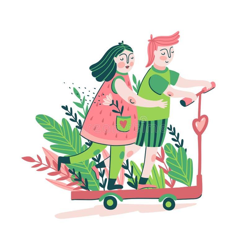 Barnpar som rider en sparkcykel Förälskelsetryckdesign för t-skjorta, affisch- eller förälskelsekort Gullig illustration för vekt royaltyfri illustrationer