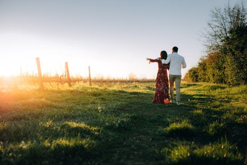 Barnpar som tillsammans går på vingården fotografering för bildbyråer