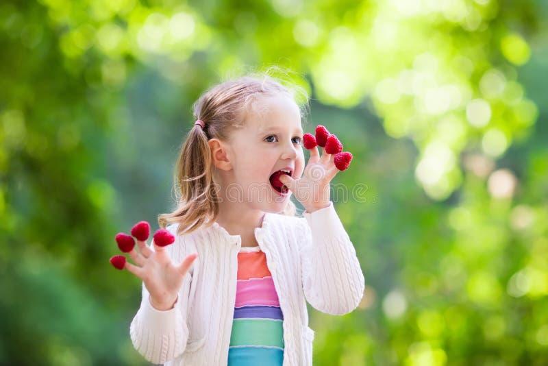 Barnplockning och ätahallon i sommar royaltyfria foton