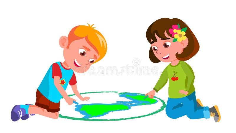 Barnpojke, flicka som drar jord på Asphalt Vector illustration stock illustrationer