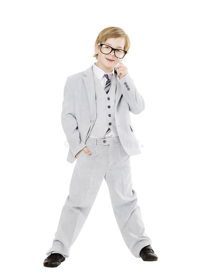 Barnpojke i exponeringsglas, pojke i Vested full längdstående för dräkt royaltyfri bild