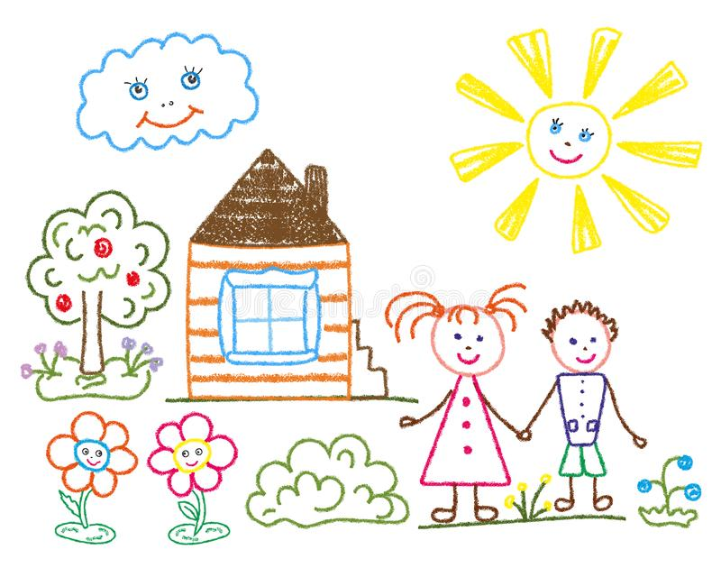Barns blyertspennateckning på temat av sommar, kamratskap, familj stock illustrationer
