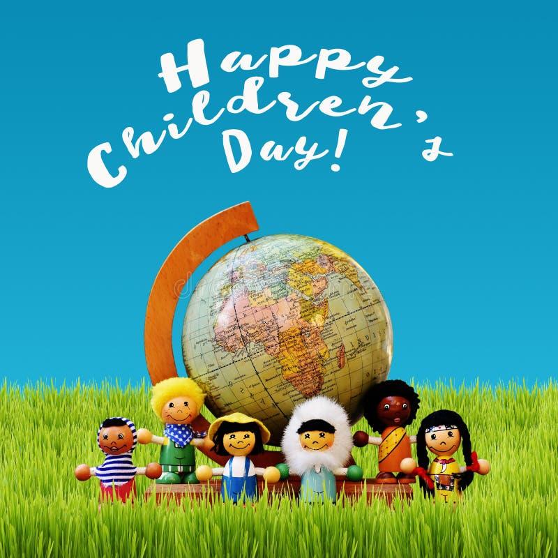 Barns dagbegrepp med ungar och jordjordklotet royaltyfri illustrationer