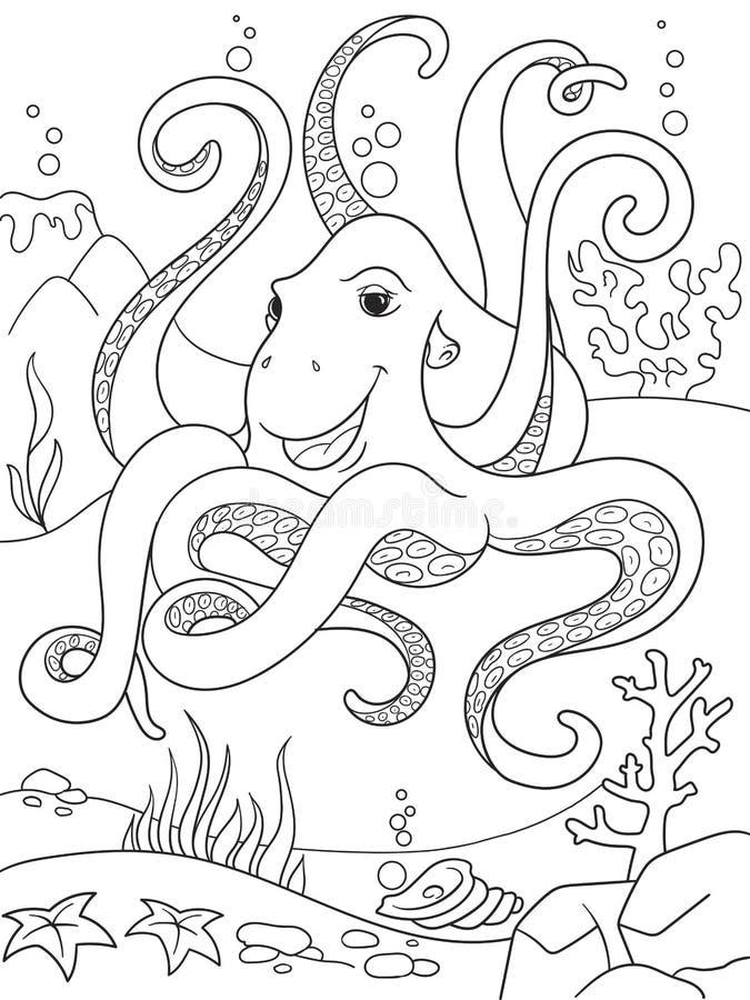 Barns djura vänner för färgläggningtecknad film i natur Undervattens- värld, bläckfisk på havgolvet stock illustrationer