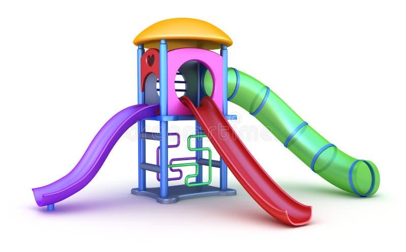 barns färgrika lekplats royaltyfri illustrationer
