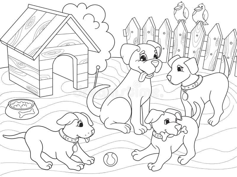 Barns familj för tecknad film för färgläggningbok på naturen Mammahund och valpbarn royaltyfri illustrationer