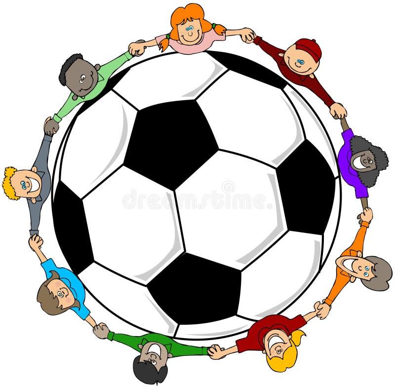 Barns fotboll royaltyfri illustrationer