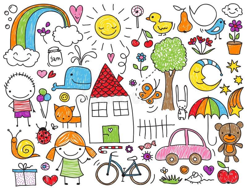 Barns klotter vektor illustrationer