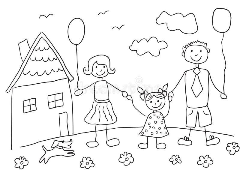 Barns lycklig familj för teckning med hunden Avla, fostra, dottern och deras hus vektor illustrationer