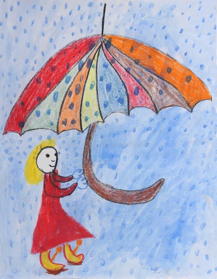 Barns målning - flicka med paraplyet i regnet royaltyfri illustrationer