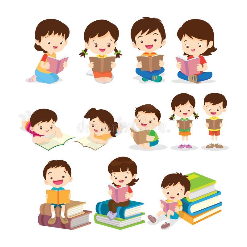 Barns olika handlingar för läsebok stock illustrationer