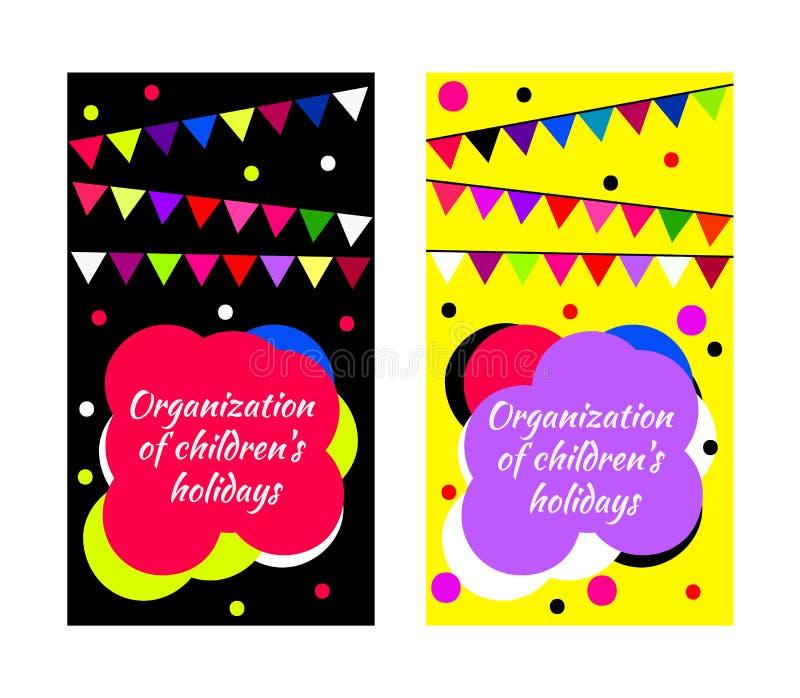 Barns partikort stock illustrationer